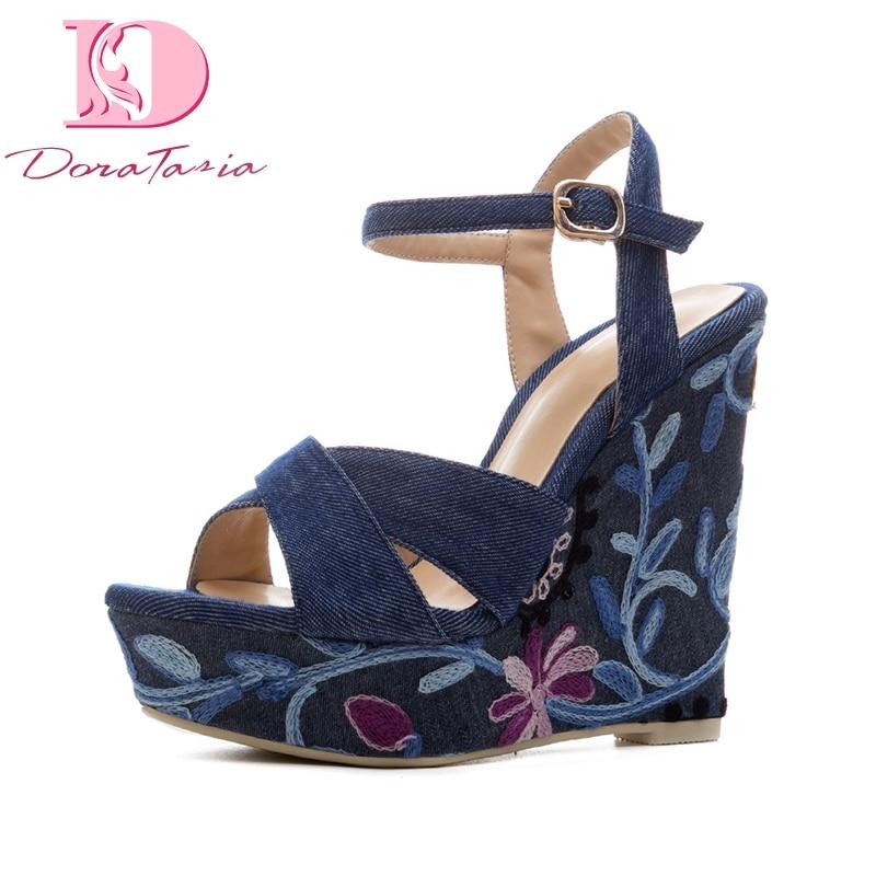 DoraTasia alta calidad Denim superior bordado Dropship plataforma azul verano Zapatos Sandalias Mujer moda tobillo Correa fiesta sandalia-in Sandalias de mujer from zapatos    1