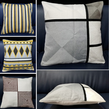 Cotton Embroidery Cushion Cover Zipper Geometric Decorative Throw Pillow for Living Room 18x18 inches Case