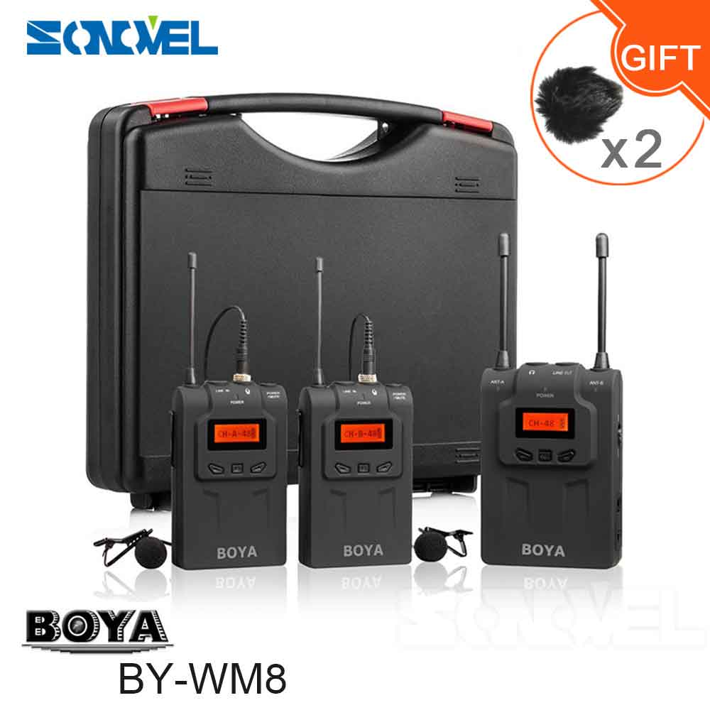 BOYA BY-WM8 UHF Dual Wireless Lavalier Microphone Systerm Lav Interview Mic 2 Transmitters 1 Receiver for DSLR Video Camera  boya uhf wireless lavalier microphone recorder system for video interview broadcast mic canon nikon dslr camera sony camcorder