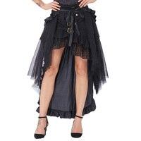 Belle Poque Black Skirts Womens Ruffled Long Open Skirt Steampunk Retro Asymmetrical Skirt For Dancing 2017