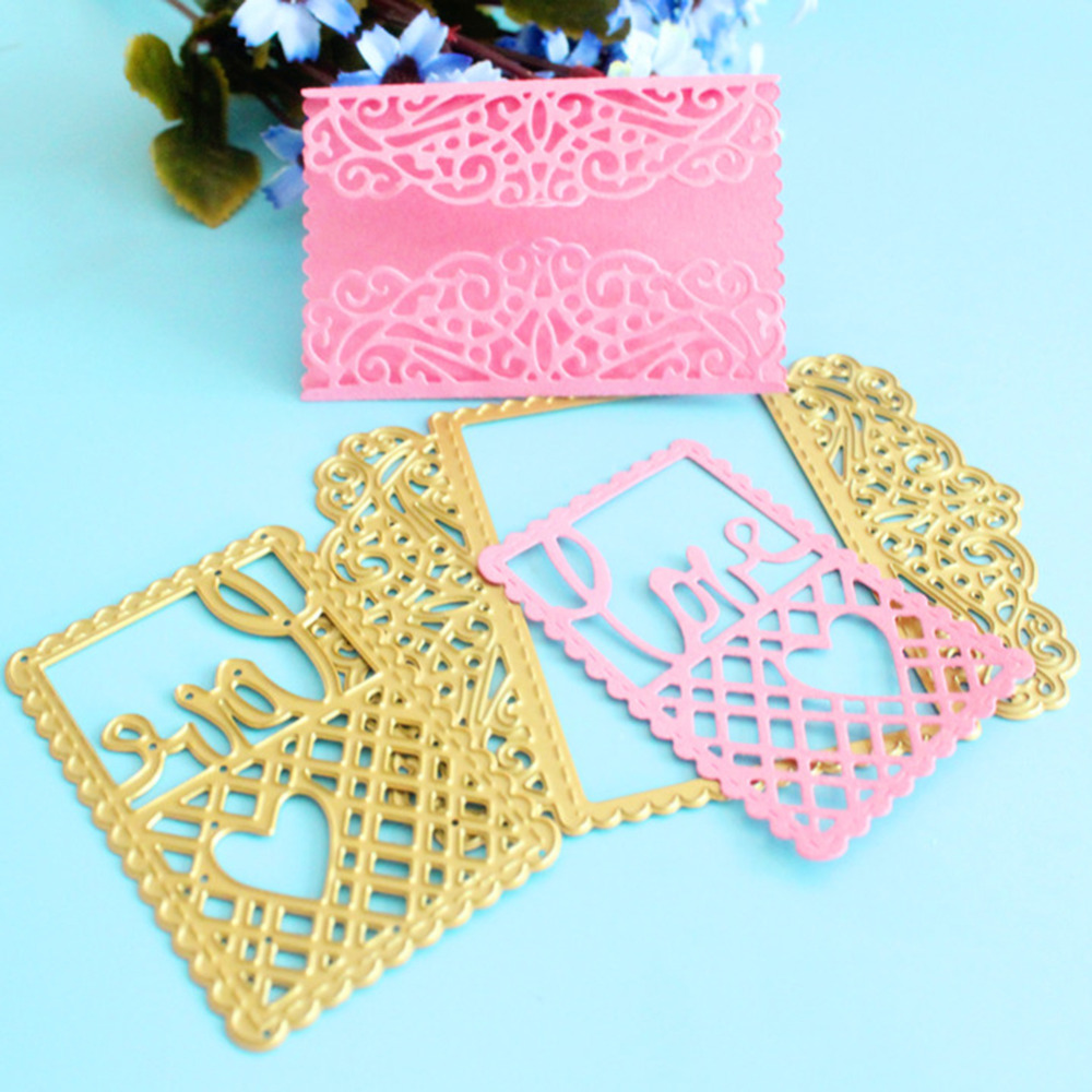 86*117mm new scrapbooking DIY cute 2pcs lace love shape steel cutting die sweet wedding Book photo album art card cake Dies Cut