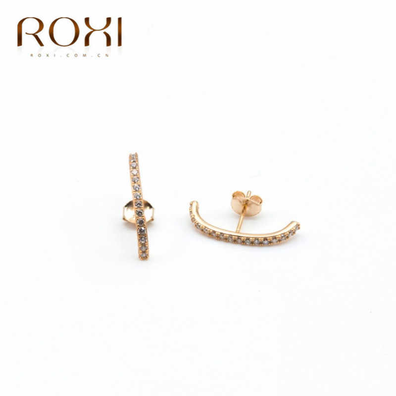 ROXI 925 Sterling Silver Earrings Bar Shape Crystal Ear Climbers Stud Earrings for Women Fashion Jewelry Single Row CZ Ear Studs