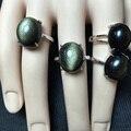 Известный бренд обсидиан девочек 925 серебро инкрустированные овальный природный самоцветы обсидиан кольца женский счастливый черный опал