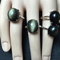 famous brand Obsidian girls 925 Sterling silver inlaid oval Natural Semi-precious stones obsidian rings female lucky black Opal