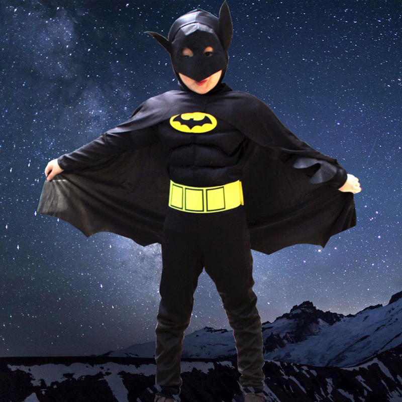 Hot Sale Kids Boy Muscle Batman DC Comic Superhero Movie Character Cosplay Fancy Dress Child Halloween Carnival Party Costumes