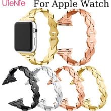 Unique shape Steel strip For Apple Watch 40mm 44mm 38mm 42mm Frontier smart watch band for Apple Watch series 4 3 2 1 iWatch 42mm 38mm for apple watch s3 series 3