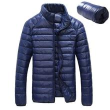 Мужская куртка на утином пуху на осень и зиму, ультра-светильник, Мужское пальто, водонепроницаемая пуховая парка, модная мужская верхняя одежда с воротником, тонкое пальто, 5XL, 6XL