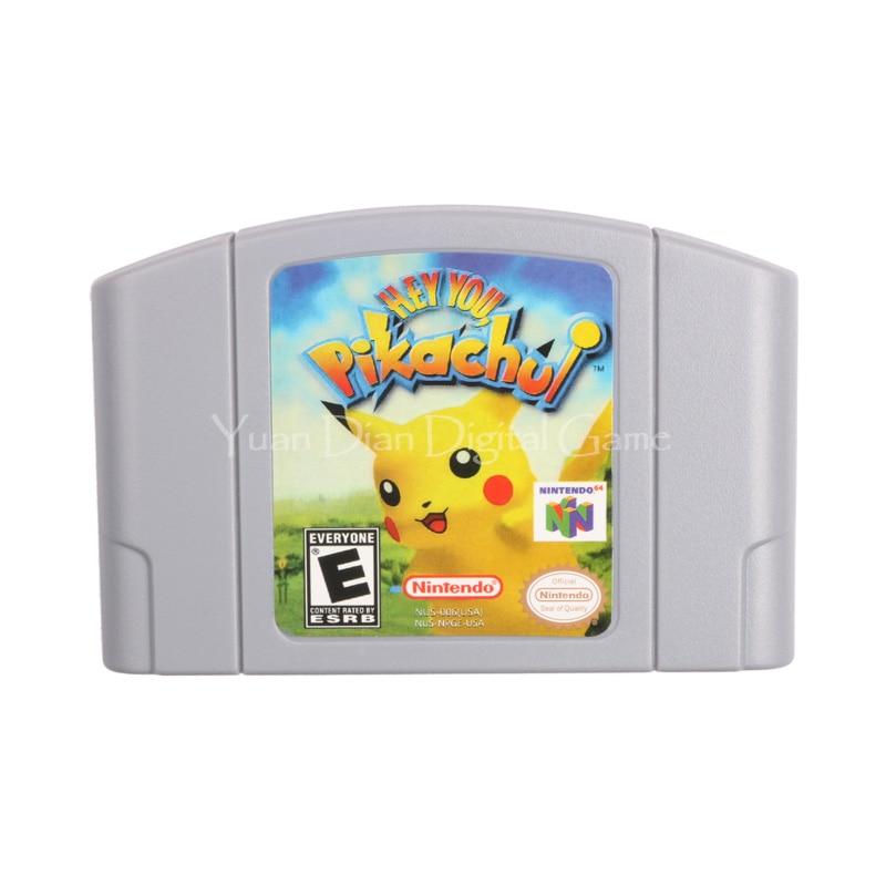 Cartucho de juego de nintendo n64 video consola tarjeta hey pikachu idioma inglé