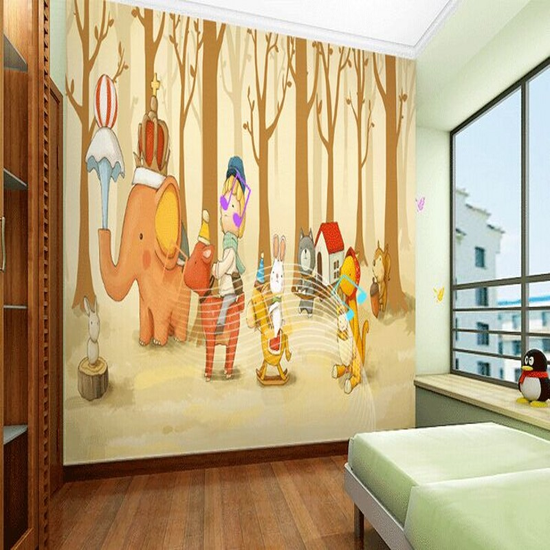 photo wallpaper Hand painted cartoon children bedroom background wallpaper mural forest animal green wallpaper mural large mural children s room green 3d wallpaper tv backdrop bedroom woven 3d wallpaper cars cartoon