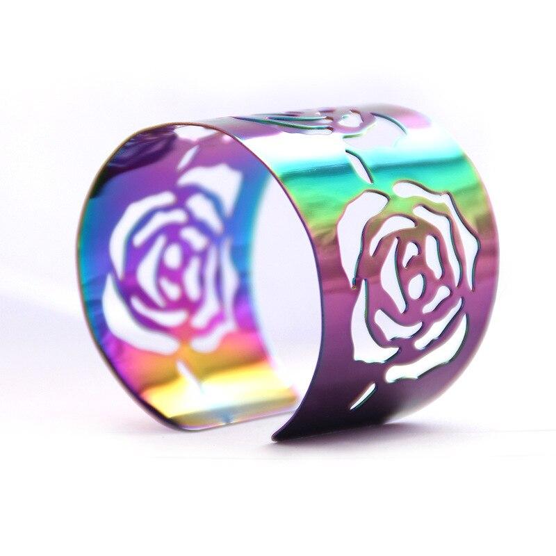 Pretty Hollow Wide Cuff Bangles For Women Men Adjustable Alloy Flower Butterfly Open Bangle Bracelet Fashion Dubai Jewelry