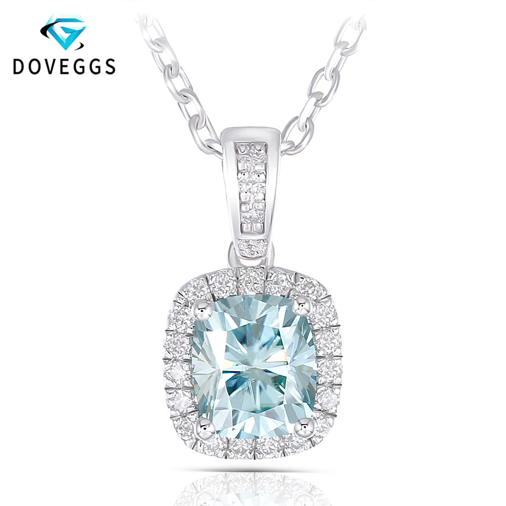 DovEggs 1.65CTW 6X7mm Cushion Cut Slight Blue Moissanite Halo Pendant Necklace with Accents Platinum Plated Silver for Women DovEggs 1.65CTW 6X7mm Cushion Cut Slight Blue Moissanite Halo Pendant Necklace with Accents Platinum Plated Silver for Women