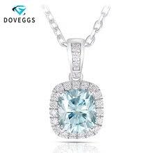 DovEggs 1.65CTW 6X7mm coupe coussin léger bleu Moissanite Halo pendentif collier avec des Accents Sterling solide 925 argent pour les femmes