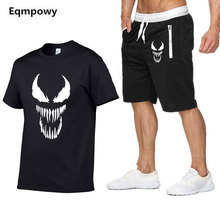 2019 summer hot men set Venom t-shirts + Shorts cotton short sleeve casual male venom t-shirts men suit two piece big size S-XXL kataklysm kataklysm heaven s venom
