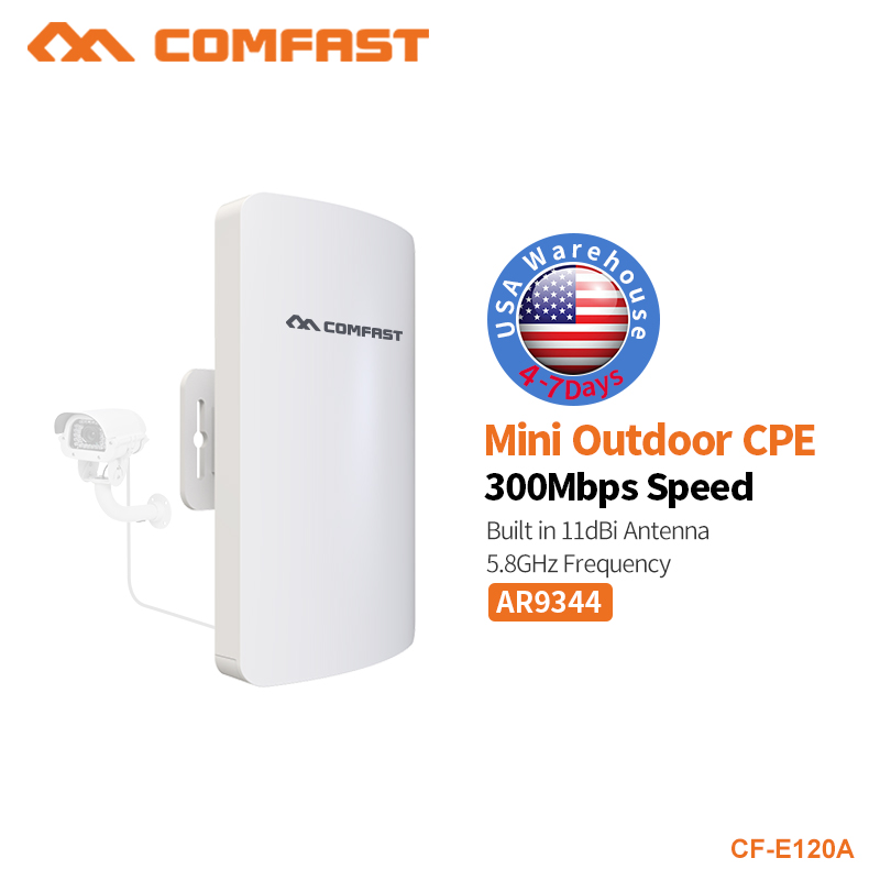 COMFAST Wifi Router For IP Camera Project 1-2km Long Range Amplifier 300Mbps Mini Outdoor CPE Wireless Bridge 5.8ghz CF-E120A comfast wireless bridge 5 8ghz 300mbps mini outdoor cpe wifi router for ip camera project 1 2km long range amplifier cf e120a