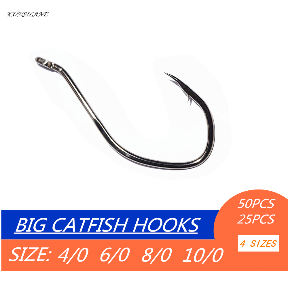цена на 50/25PCS Big Fishing Hooks High Carbon Steel Catfish Hooks Bait Fishing Tackle Circle Offset Barbed Fishhooks