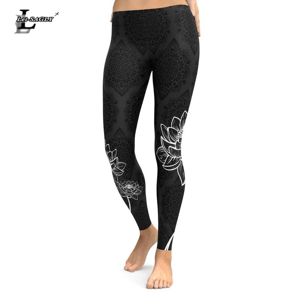 Lei-SAGLY 2018 Women Leggings Mandala Flower Digital Printed Slim Black Fitness Woman Leggins Workout Plus Size High Waist Pants