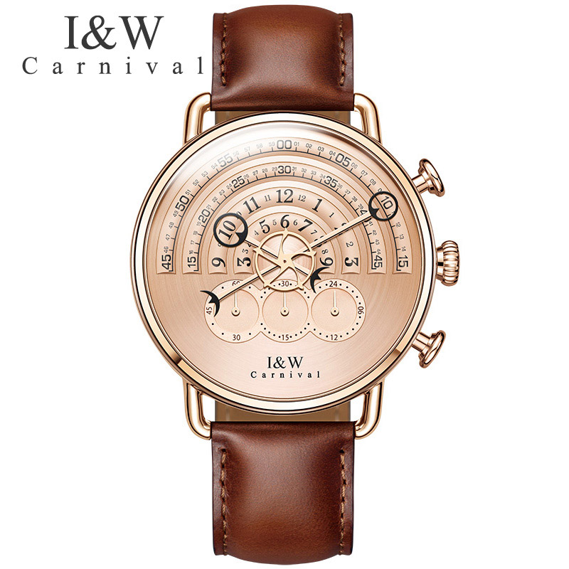relogio masculino Fashion Watches Carnival Men Chronograph Sports Quartz Watch Leather Wristwatches Sapphire Rose gold Case seiko watch premier series sapphire chronograph quartz men s watch snde23p1