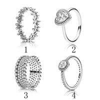 925 Donne Anello Eleganza Lavish Scintillante Del Cuore di Amore Dazzling Margherita Prato Impilabile Anello fit Pandora Jewelry