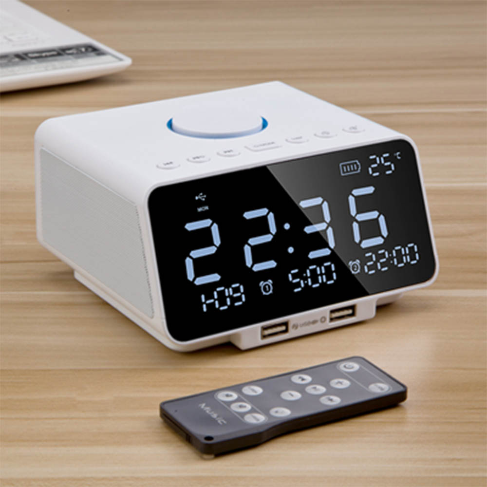 Creative Students Bedside Remote Control Clock Electronic Music Alarm Clock Personalized Charging Alarm Mute Bedroom Nightstand