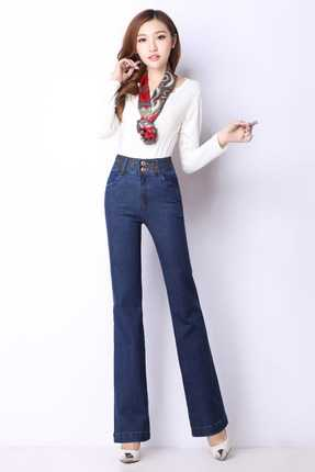 High Quality Women's Bell-bottom Jeans Ladys Denim Boot Cut Pants Flares Trousers Girls Large Size Long Pants A3098  velvet boot cut bell bottom pants
