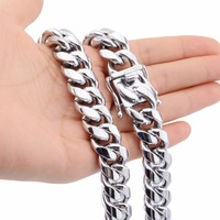16mm High Class Yellow/White Gold Stainless Steel Cut Curb Cuban Chain Miami' Link Men's Necklace Jewelry 18 40inch