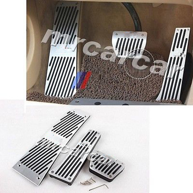 Alloy Aluminium Fuel Brake AT Pedals, No-Drilling Foot Mats Pads Plate Fit For BMW F10 5 Series 7Series LHD