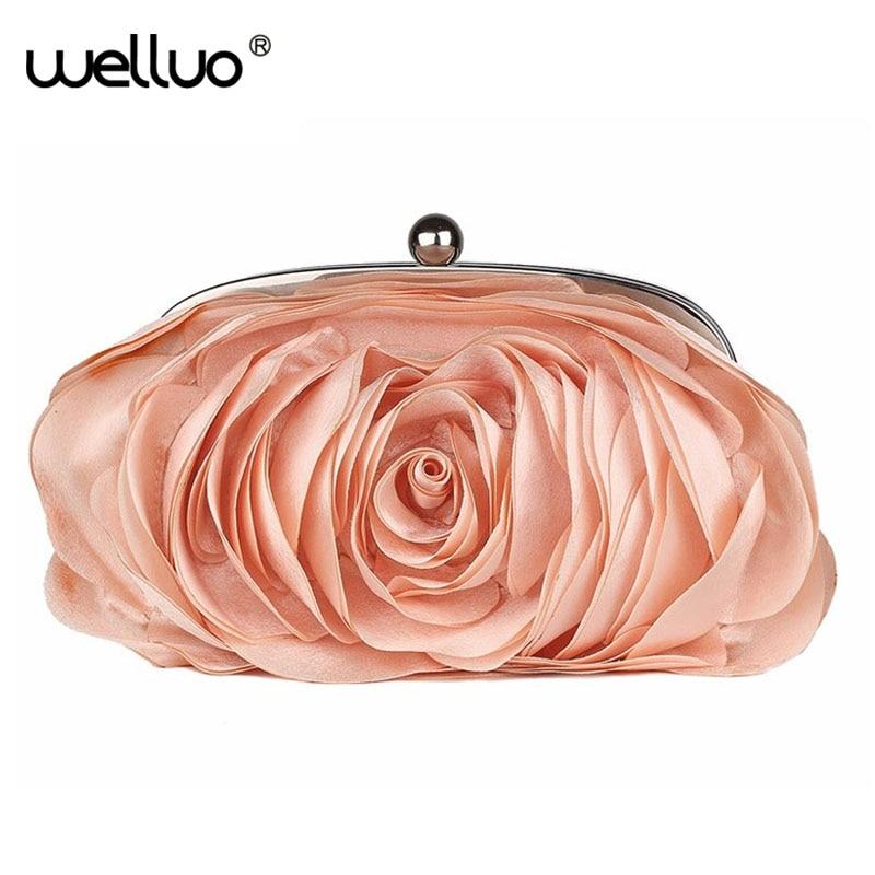 finest selection 78835 bf466 Moda floral mujeres bolso de noche las mujeres Rose flor novia embrague  bolso del partido del vestido de boda del embrague cadena bolso XA766B