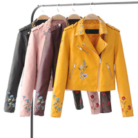 Spring Autumn Hot Fashion Tops Women Short Leather Jackets Flowers Embroidery Jacket Coat Female Slim Zipper