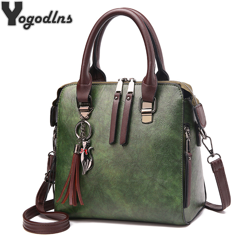 Vintage PU Leder Damen Handtaschen Frauen Messenger Taschen TotesTassel Designer Umhängetasche Schulter Tasche Boston Hand Taschen Heißer Verkauf