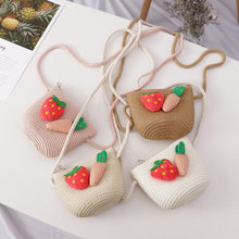 2019 Newly Hat Bag Set Wavy Straw Hats Strawberry Radish Cap Single Shoulder Bag for Kids Spring Summer Beach MSD-ING(China)