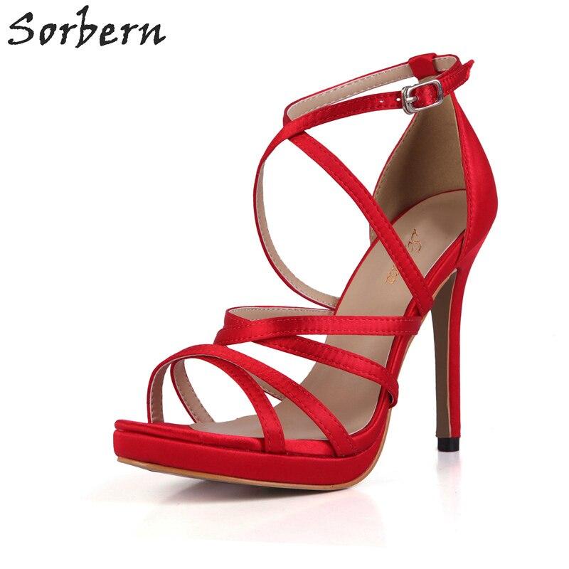 цены на Sorbern Elegant Red Silk Sandals Women Platform Open Toe High Heels Wedding Shoes Summer Sandals Ladies Shoes Custom Colors в интернет-магазинах