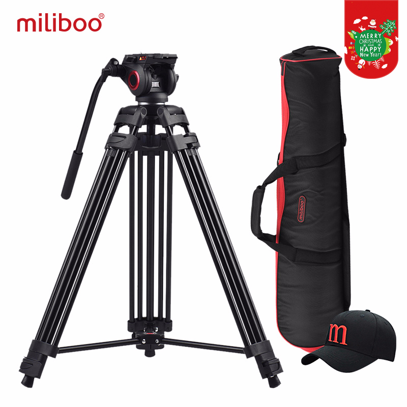 Miliboo MTT601A Aluminium Heavy Duty Fluid Head Kamera Stativ for Videokamera / DSLR Stativ Profesjonell Video Stativ