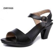 2019 New Open Toe Cowhide Leather Sandals Women Shoes High Heel Sandals Elegant Fashion Casual Shoes Women Sandals Plus Size