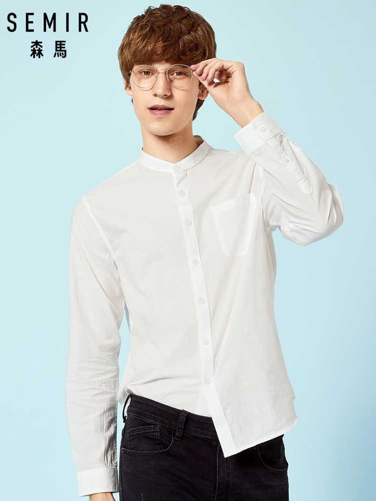 SEMIR Для мужчин s Band-рубашка с воротником Для Мужчин's рубашка классического кроя Длинные рукава Повседневная рубашка в 100% хлопок без воротника рубашка, одежда, рубашка, однотонные