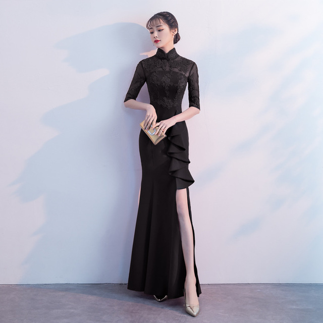 2598e4a9f4 Red Black Long Chinese Traditional Dress Ancient Lady Cheongsam for Wedding Party  Dresses Women One Piece Qipao Evening Costume