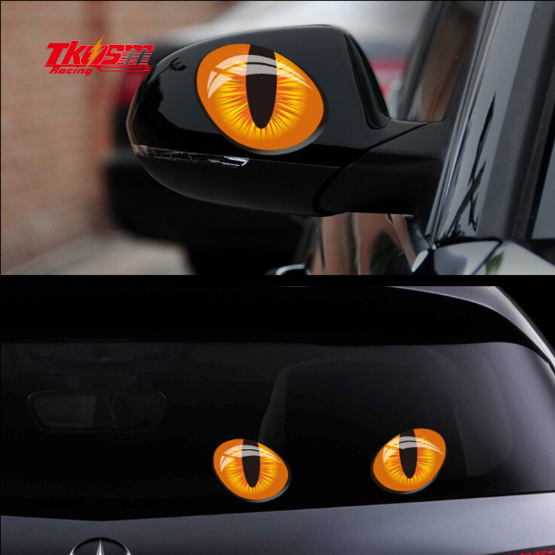 TKOSM 3D cat eye car sticker 3D model eye reflection car sticker 10.5*7.5cm 1 pair packing 3d mechanical eye personality creative removable wall sticker