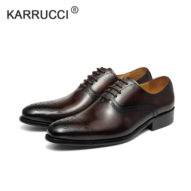 6600ee731539 KARRUCCI Genuine Leather Lace Up Men Black Coffee Formal Oxford Shoes  Office Business Dress Suit Footwear With Dot Detail