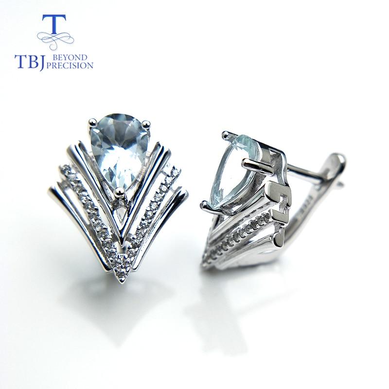 TBJ, elegance ง่ายต่างหูธรรมชาติ aquamarine พลอยแท้เงินแท้ 925 เครื่องประดับสำหรับแฟนผู้หญิงเป็นของขวัญ-ใน ต่างหู จาก อัญมณีและเครื่องประดับ บน   1