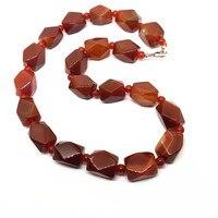 Thời trang Vòng Cổ Red Carnelian Đá Bead Choker Necklace 15x20mm bead chất lượng cao Cho Cô Ấy Đảng necklaces