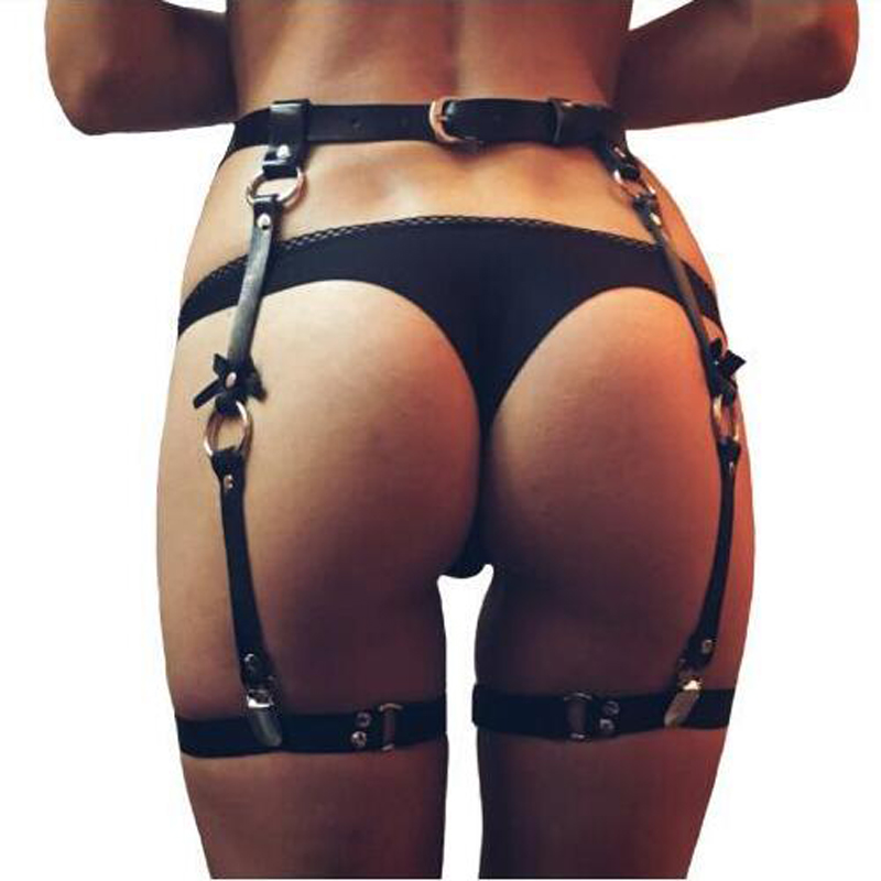 New Women Sexy Leather Bowknot Belts Body Leg Bondage Cage Punk Sculpting Harness Waist Belt Straps Suspenders Accessories