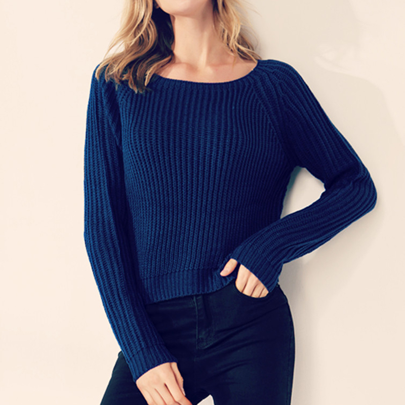 Autumn winter women sweaters and pullovers korean style long sleeve casual crop sweater slim solid knitted jumpers sweater mujer 6