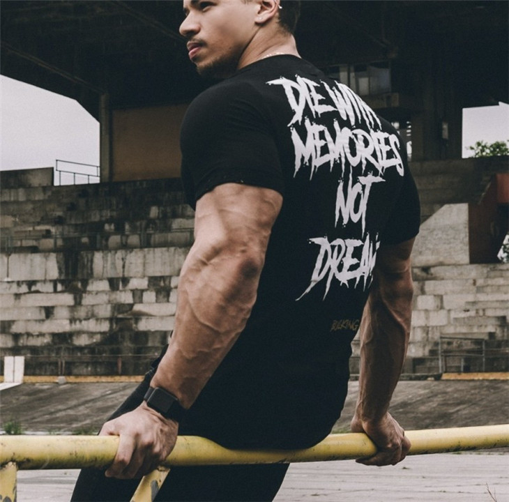 Men Short Sleeve Cotton T-shirt Summer Casual Fashion Gyms Fitness Bodybuilding T shirt Male Slim Tees Tops Clothing 28