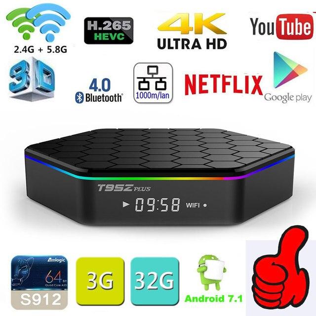 Boîtier de télévision intelligent dorigine T95Z Plus 2 go/16 go 3 go/32 go Amlogic S912 Octa Core Android 7.1 TVBOX 2.4G/5GHz WiFi BT4.0 4K décodeur