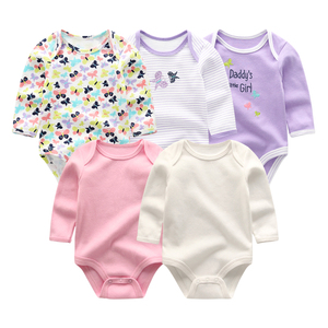 Image 2 - 2019 5pcs/lot Baby Rompers Full Sleeve Cartoon Solid Print O Neck Fashion Cotton Baby Girl Clothes Boy Clothing Roupa de bebe