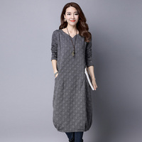 New Winter Long Sleeve Dress Retro Cotton Dress