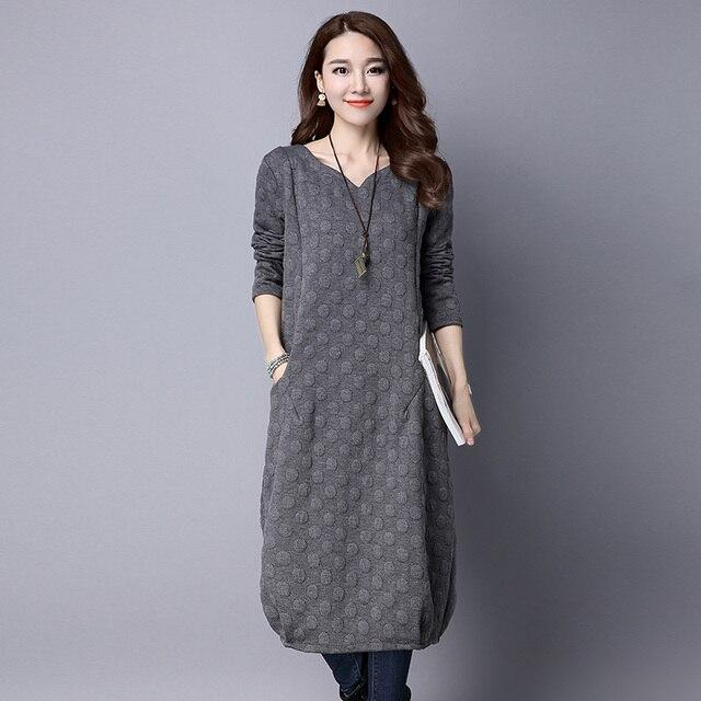 d31df0ce340 Dames automne hiver chaud Vestidos 2018 nouvelles femmes à manches longues  robes en coton avec poches