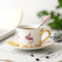 Delicate pink flamingo element ceramic coffee cup Exquisite Delicate gold edge afternoon teacup