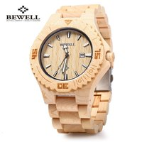 Bewell ZS W023B Wooden Quartz Watch For Men Date Display Luminous Pointers