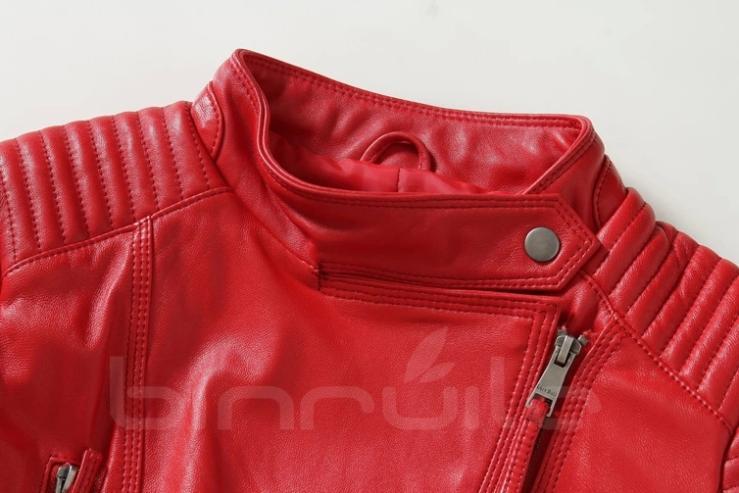 Красный натуральная кожаная куртка женщины slim-подходят мода кожаная куртка мотоцикла леди женские весна кожаное пальто черный