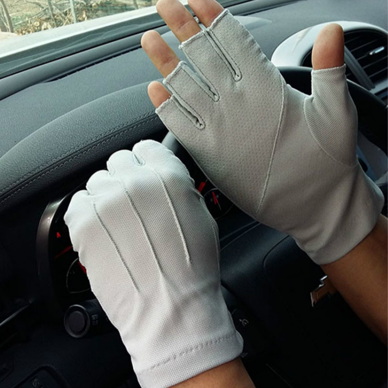 Men's Fingerless Anti-Slip Driving Gloves Women Sun Protection Gloves Summer Male Thin Breathable Anti-UV Cycling Working Gloves